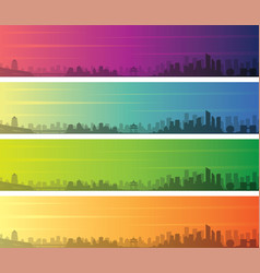 hangzhou multiple color gradient skyline banner vector image