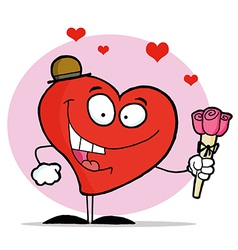 Happy Red Heart Man In A Hat Holding Three Roses vector image