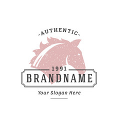 horse hand drawn logo isolated on white background vector image