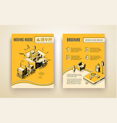 House moving service isometric ad brochure vector