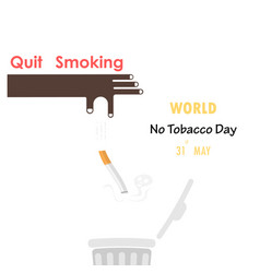 Human hands and quit tobacco signworld no tobacco vector