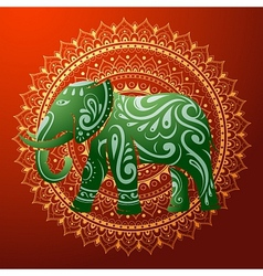 Indian elephant with native ornament vector image