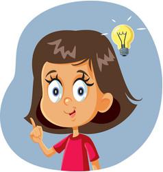 Little girl having a clever idea vector