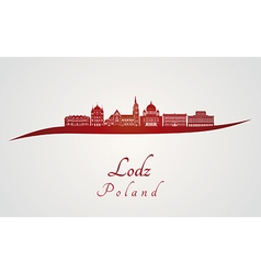 Lodz skyline in red vector