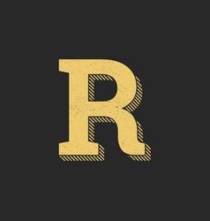 logo letter r gold vintage vector image
