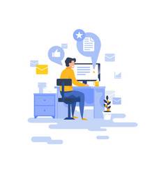 Man reading emails on computer vector