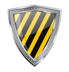 metal shield emblem under construction vector image