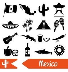 Mexico country theme symbols icons set eps10 vector image
