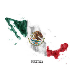 Mexico flag watercolor painting design and vector