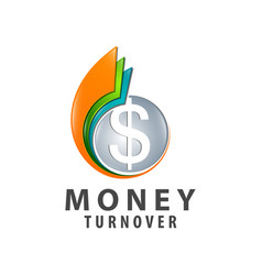 money turnover colorful logo concept design vector image