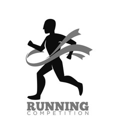 monochrome running competition logotype emblem vector image