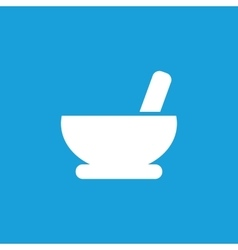 Mortar and pestle icon white vector