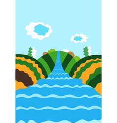 Natural background with the river vector image