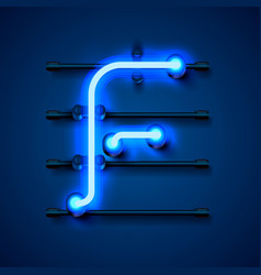 Neon font letter f art design signboard vector