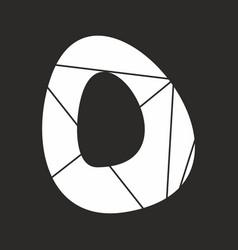 O white alphabet letter isolated on black vector