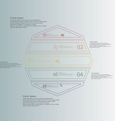 Octagon infographic from five color parts created vector