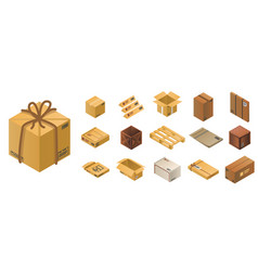parcel icon set isometric style vector image