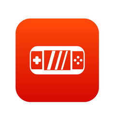 Portable video game console icon digital red vector