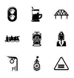 railway steward icons set simple style vector image