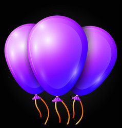 Realistic purple balloons with ribbon isolated vector