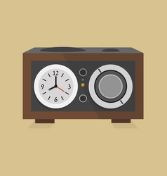 retro modern radio clock icon on beige background vector image