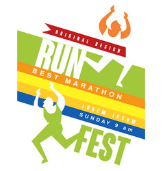 Run fest colorful poster best marathon jriginal vector