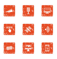 Satellite intervention icons set grunge style vector