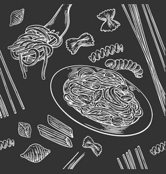 seamless pattern set pasta with title vector image