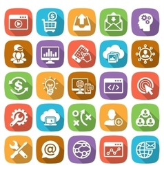 SEO and Development web and mobile icon set vector
