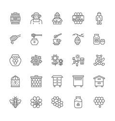 set honey line icons beekeeper protective vector image