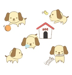 Set of dogs in various positions vector