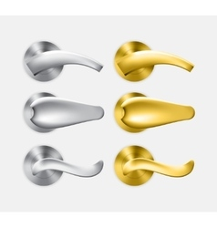 Set of metal and gold door handles vector image
