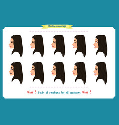 Set of woman expression isolated vector