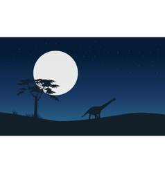 Silhouette of argentinosaurus with moon landscape vector