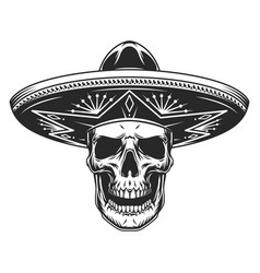 skull in mexican sombrero hat vector image