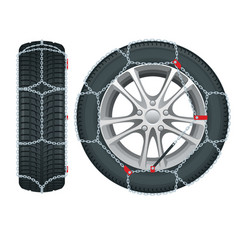snow chains on tire tire with mounted snow chains vector image
