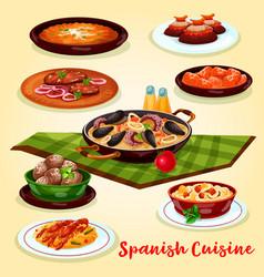 Spanish cuisine dinner menu cartoon poster design vector