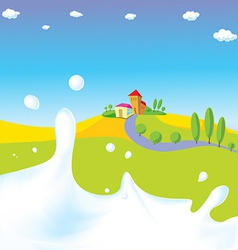 splash of milk - with green field village a vector image