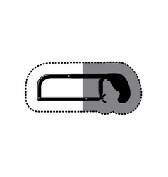 Sticker black silhouette with hacksaw tool vector