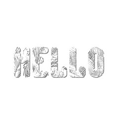 Stylized word hello is squeezed out of white vector