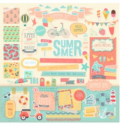 Summer scrapbook decorative elements vector