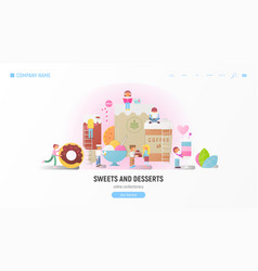 sweets and desserts vector image