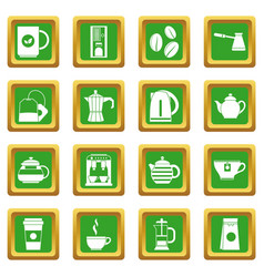 Tea and coffee icons set green vector