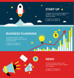 three horizontal web banners of business and vector image