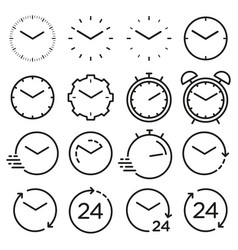 time and clock line isolated icons linear set vector image