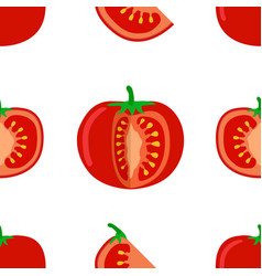 Tomato seamless pattern of tomato and slices on vector