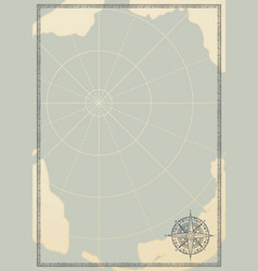 Travel background with a wind rose and old map vector