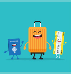 Travelling suitcase and passport characters vector