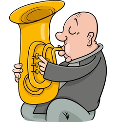Trumpeter with tuba cartoon vector