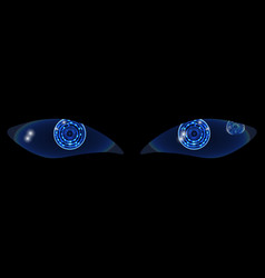 Two shiny technological neon hud eyes on a black vector